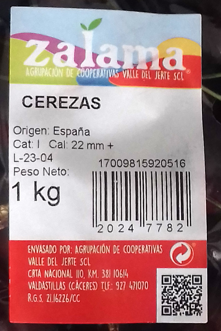 Cerezas / Picotas - Ingredientes