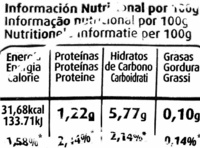 Remolacha roja cocida - Información nutricional