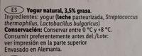 Yogur natural - Ingredients - es