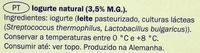 Milbona Natural Original - Ingrediënten - pt
