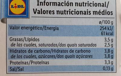 Yogur natural - Nutrition facts - es