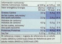 Milbona Natural Original - Información nutricional