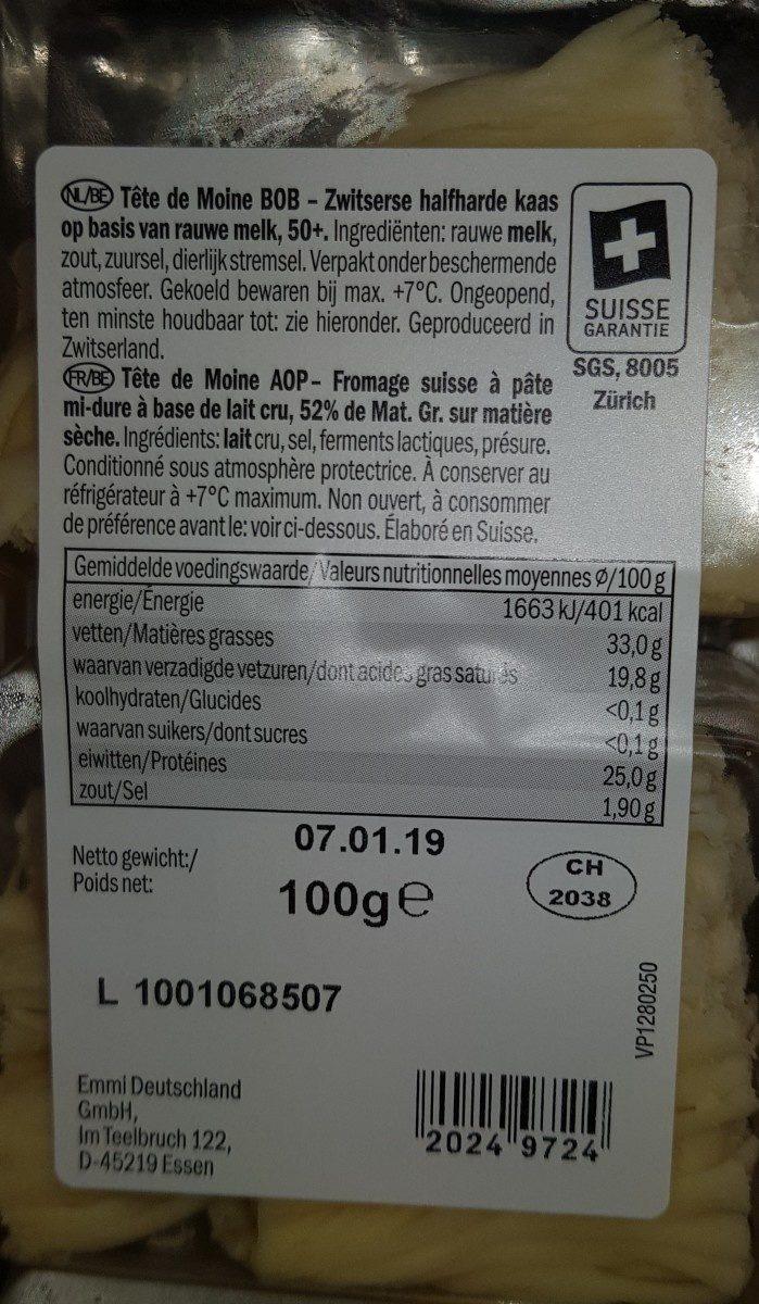 Tête De Moine Fomage - Ingrediënten - fr