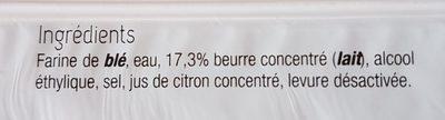 Pâte Brisée Pur Beurre - Ingrédients