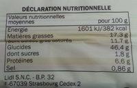 Pâte Brisée Pur Beurre - Informations nutritionnelles