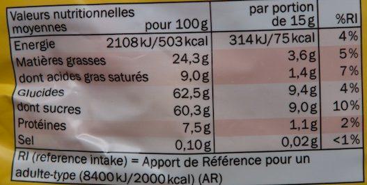 Big Hit - Cacahuetes Chocolatées - Informations nutritionnelles