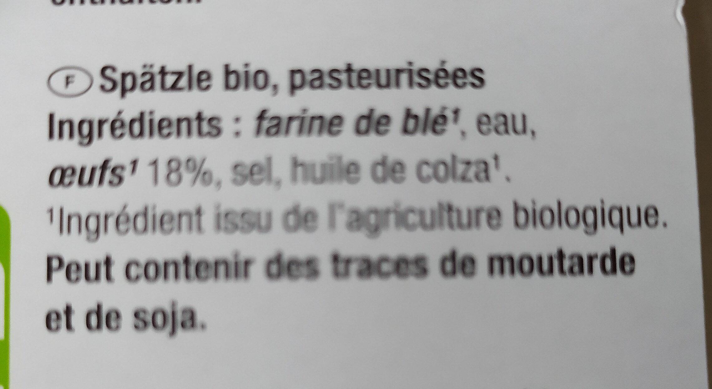 Bio SPÄTZLE - Ingrediënten - fr