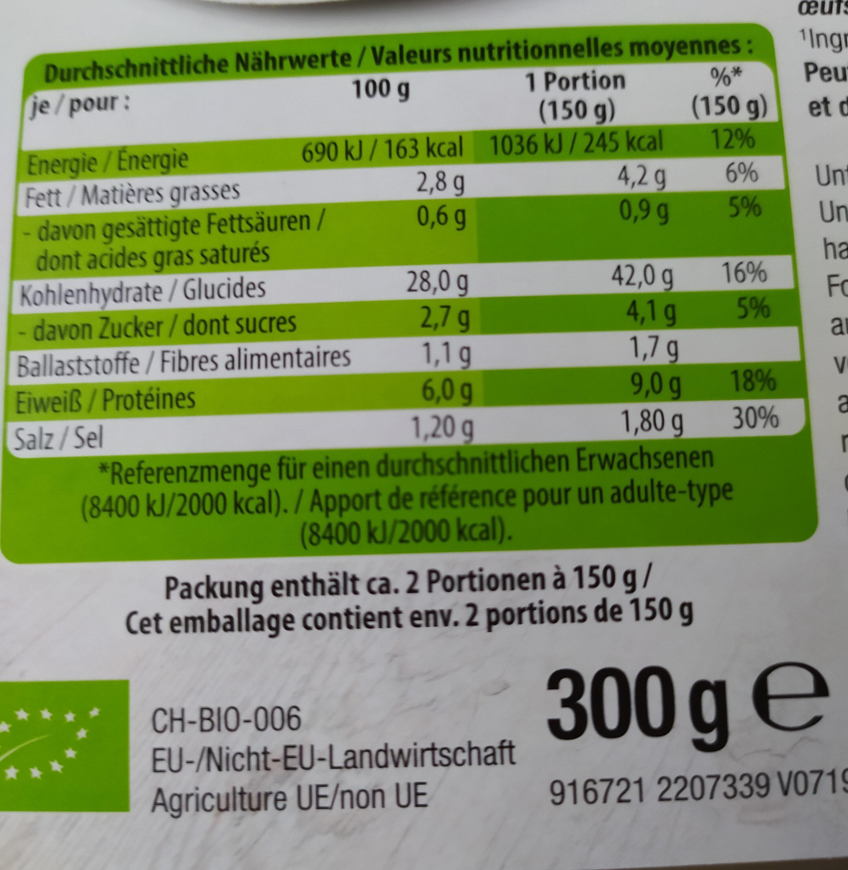 Bio SPÄTZLE - Voedingswaarden - fr