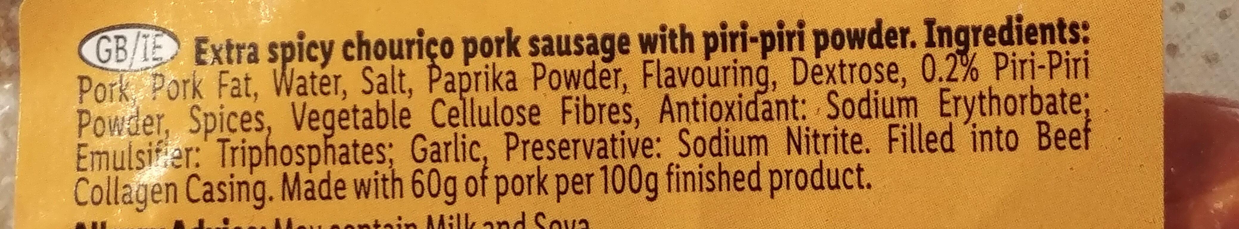 Extra spicy chouriço sausage - Ingredients - en