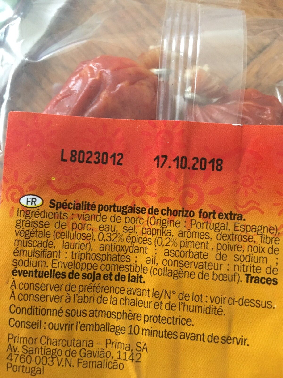 Chouriço extrapicante - Ingredients