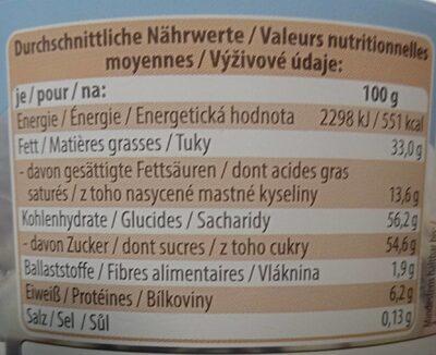 Chocolat belge - Valori nutrizionali - fr