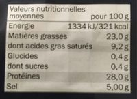 Speck Alto Adige I.g.p, Dal Salumiere - Nutrition facts