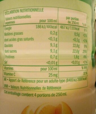 Jus orange pur fruit pressé - Informations nutritionnelles