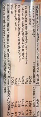 Masa Quebrada - Informação nutricional - pt