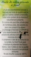Huile vierge de colza - Inhaltsstoffe - fr