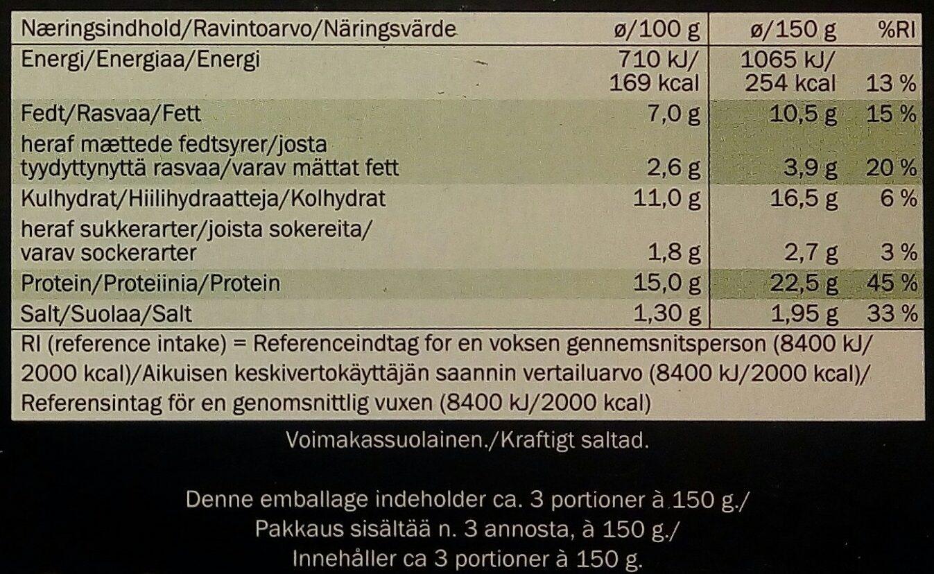 Pechuga de pollo con brócoli y queso - Informations nutritionnelles