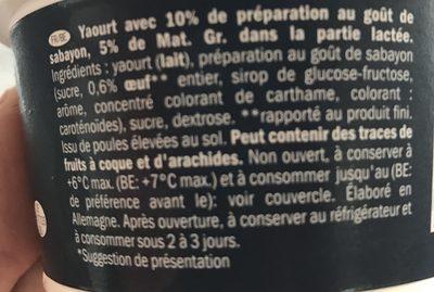 Yogurt allo zabaione - Ingrédients - fr