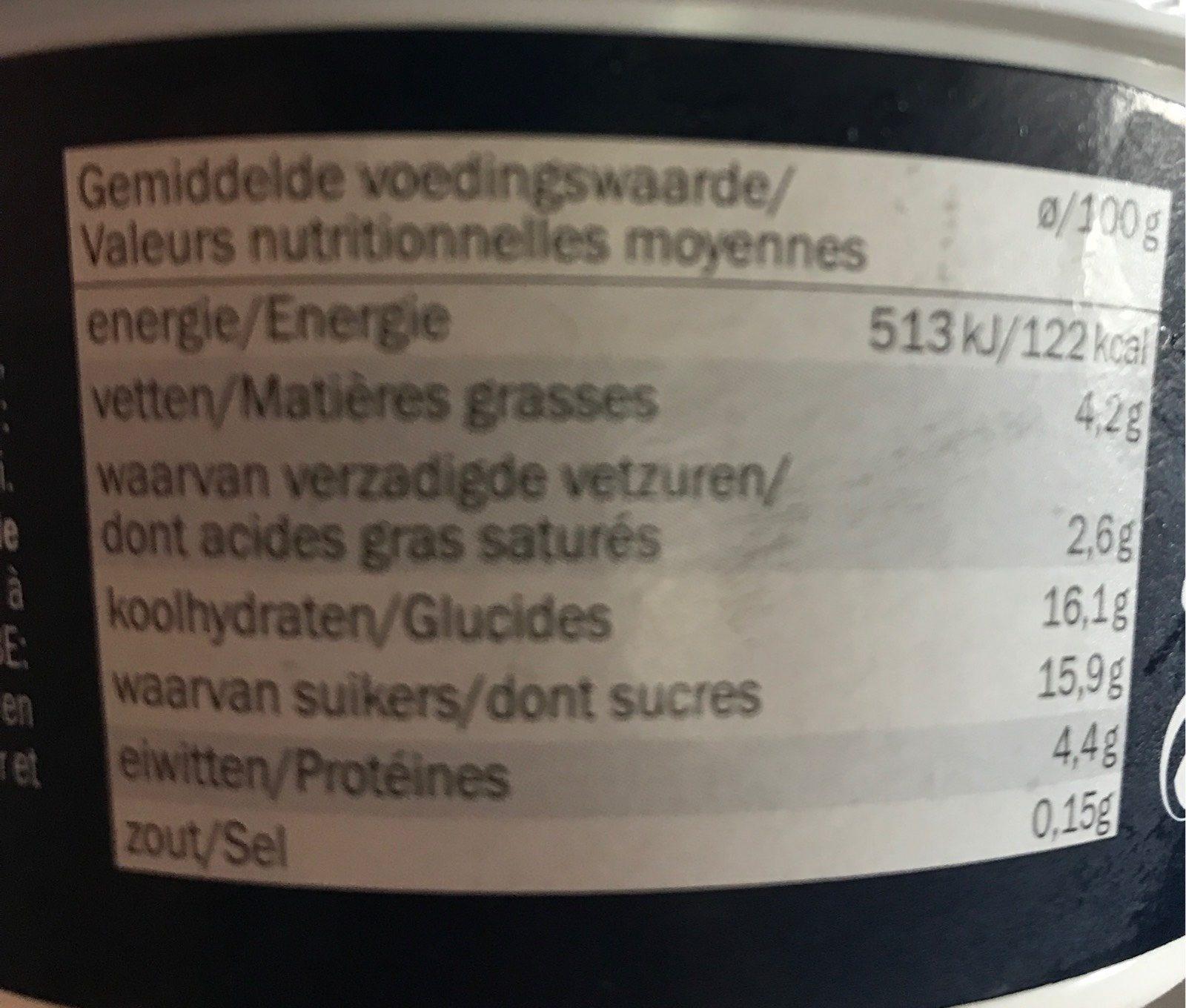 Yogurt allo zabaione - Informations nutritionnelles - fr