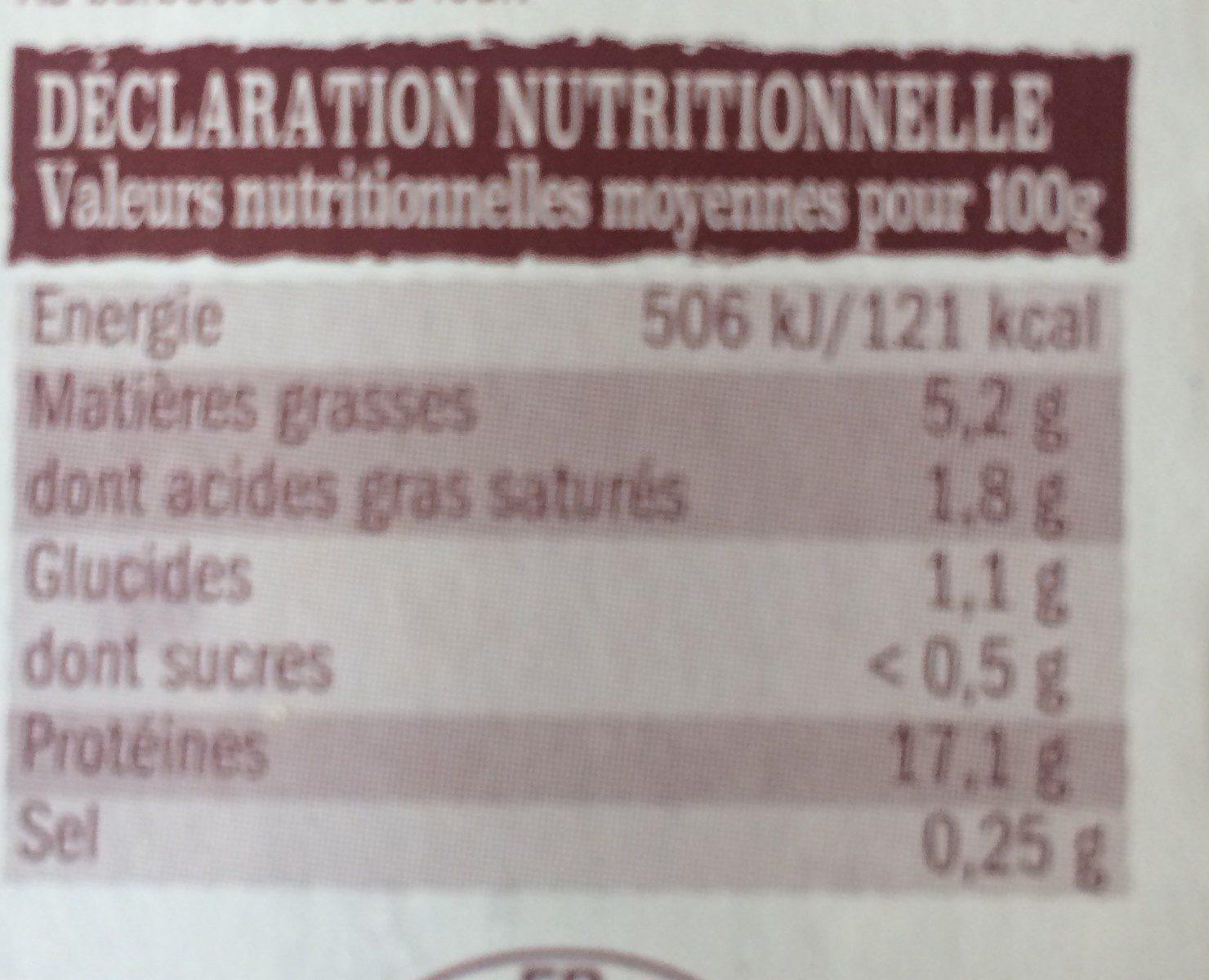 Brochette de Dinde - Informations nutritionnelles - fr