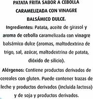 Patatas fritas artesanas Sabor a cebolla caramelizada & vinagre balsámico - Ingredientes - es