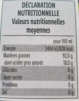 Huile de pépins de courge syrienne - Informations nutritionnelles - fr