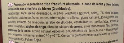 Preparado vegetariano tipo frankfurt ahumado - Ingrediënten - es