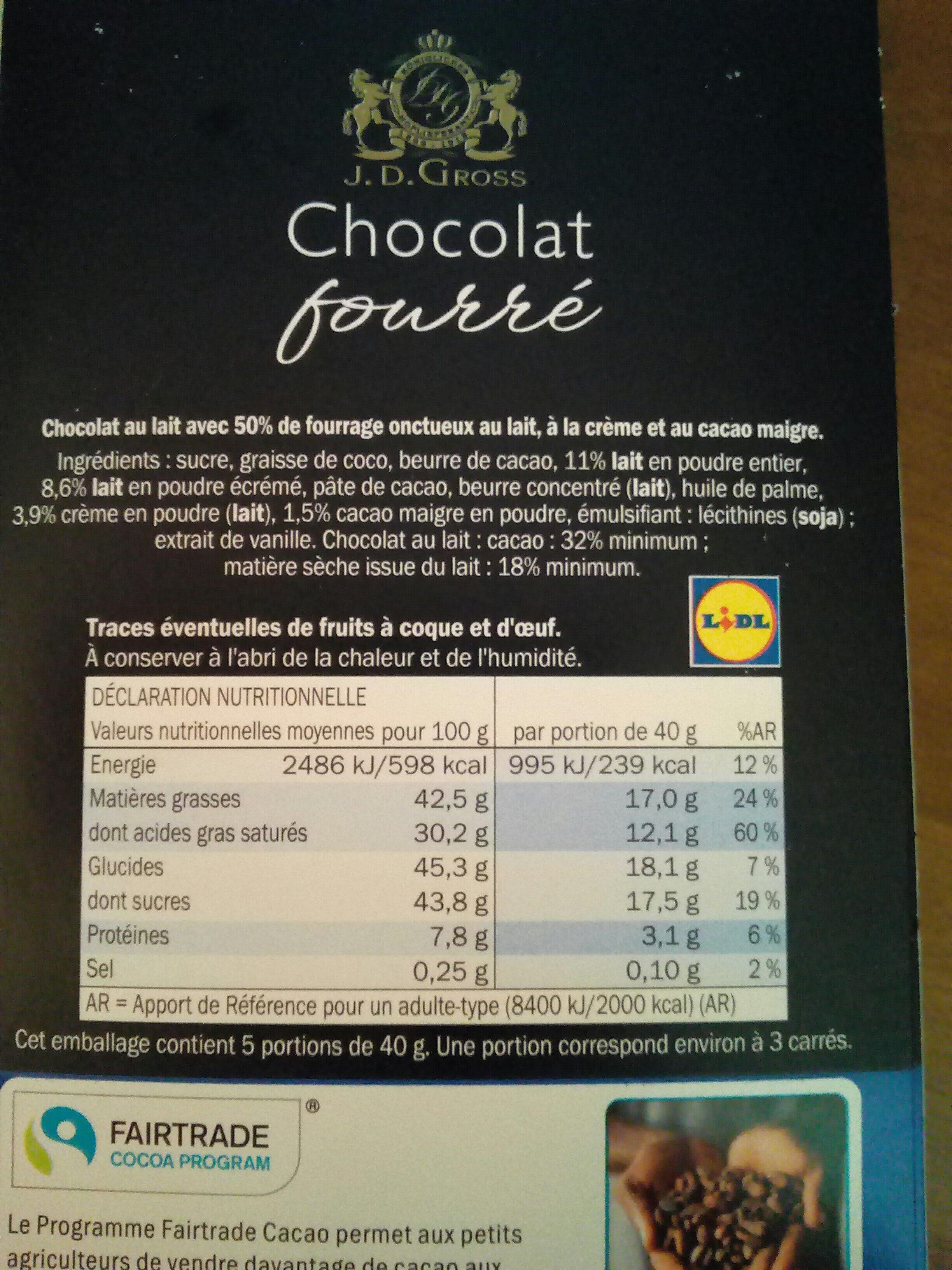 Chocolat fourré onctueux cacao - Product