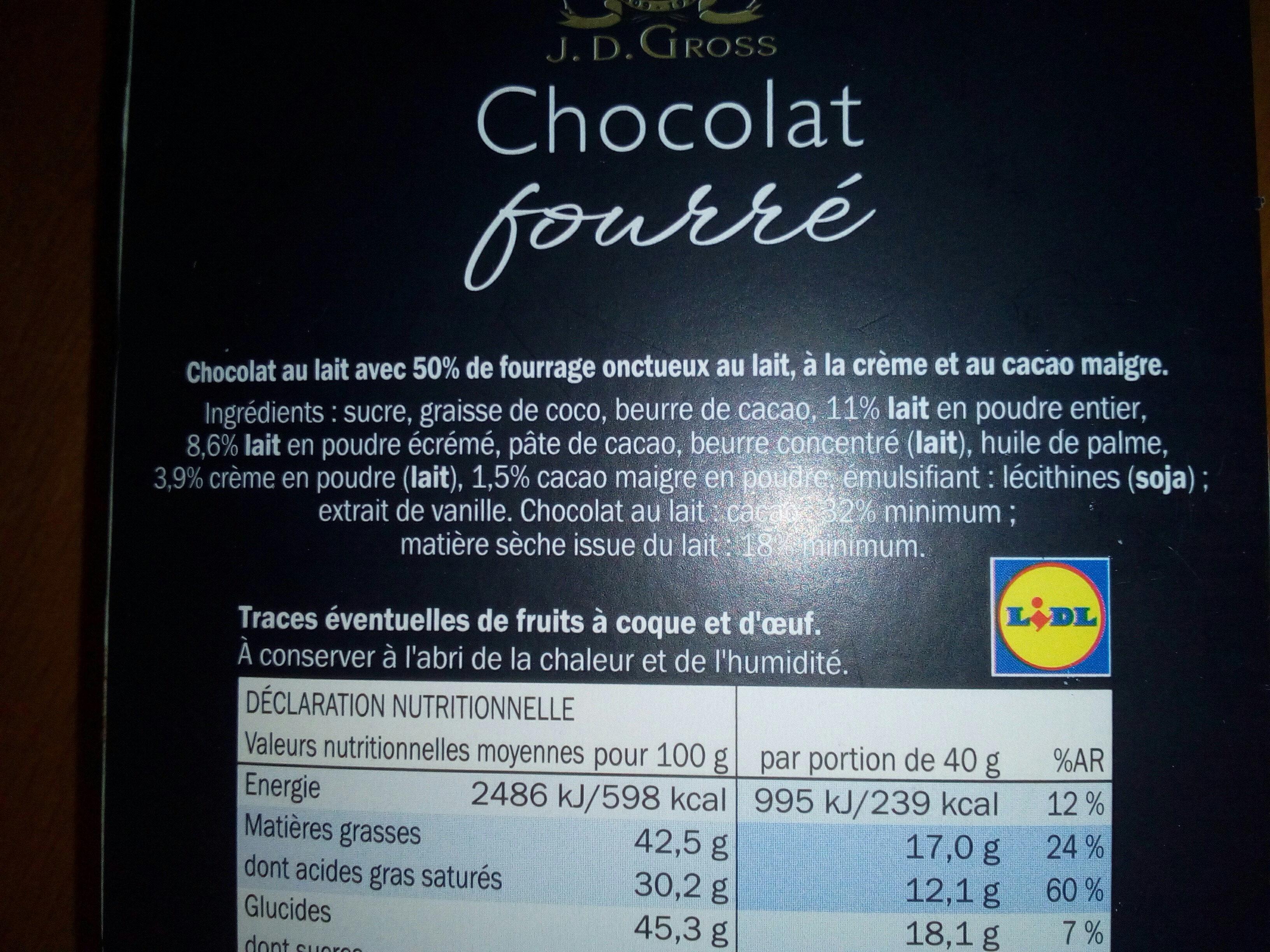 Chocolat fourré onctueux cacao - Ingredients