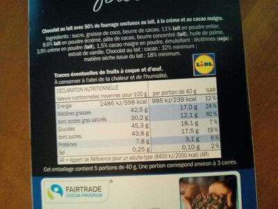 Chocolat fourré onctueux cacao - Nutrition facts