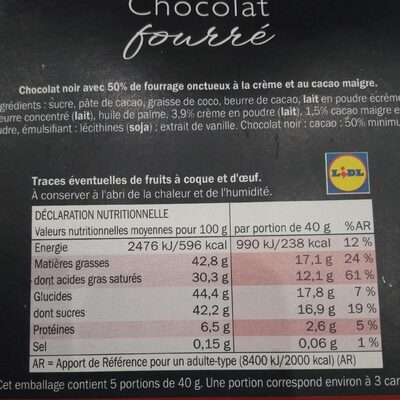 Chocolat fourré - crémeux cacao - Ingrédients - fr