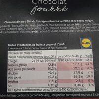 Chocolat fourré - crémeux cacao - Informations nutritionnelles - fr