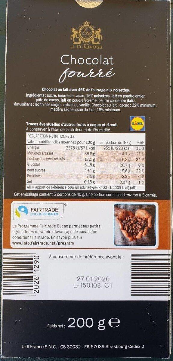 Chocolat fourré - Nährwertangaben - fr