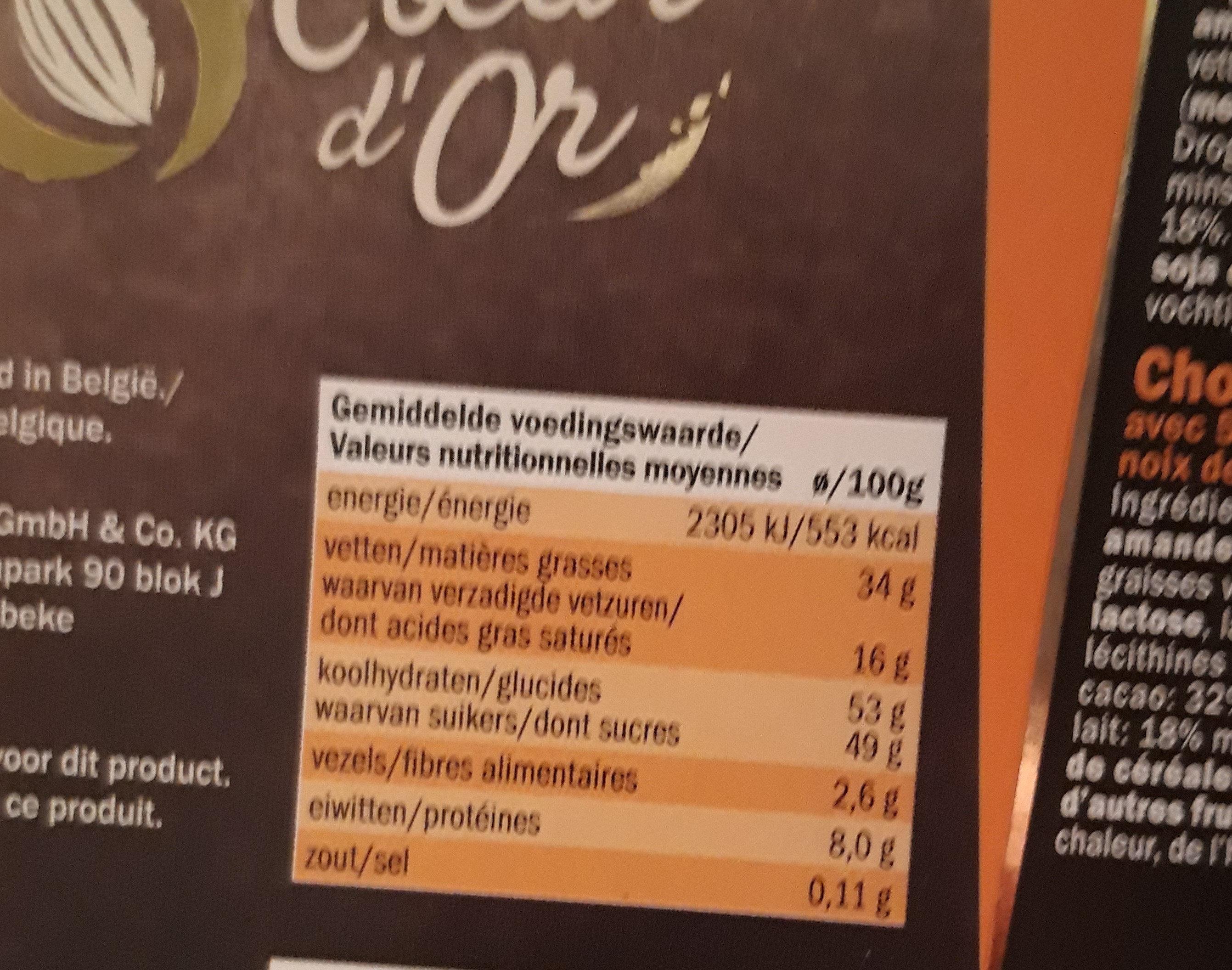 Dessert lait - Voedingswaarden - fr