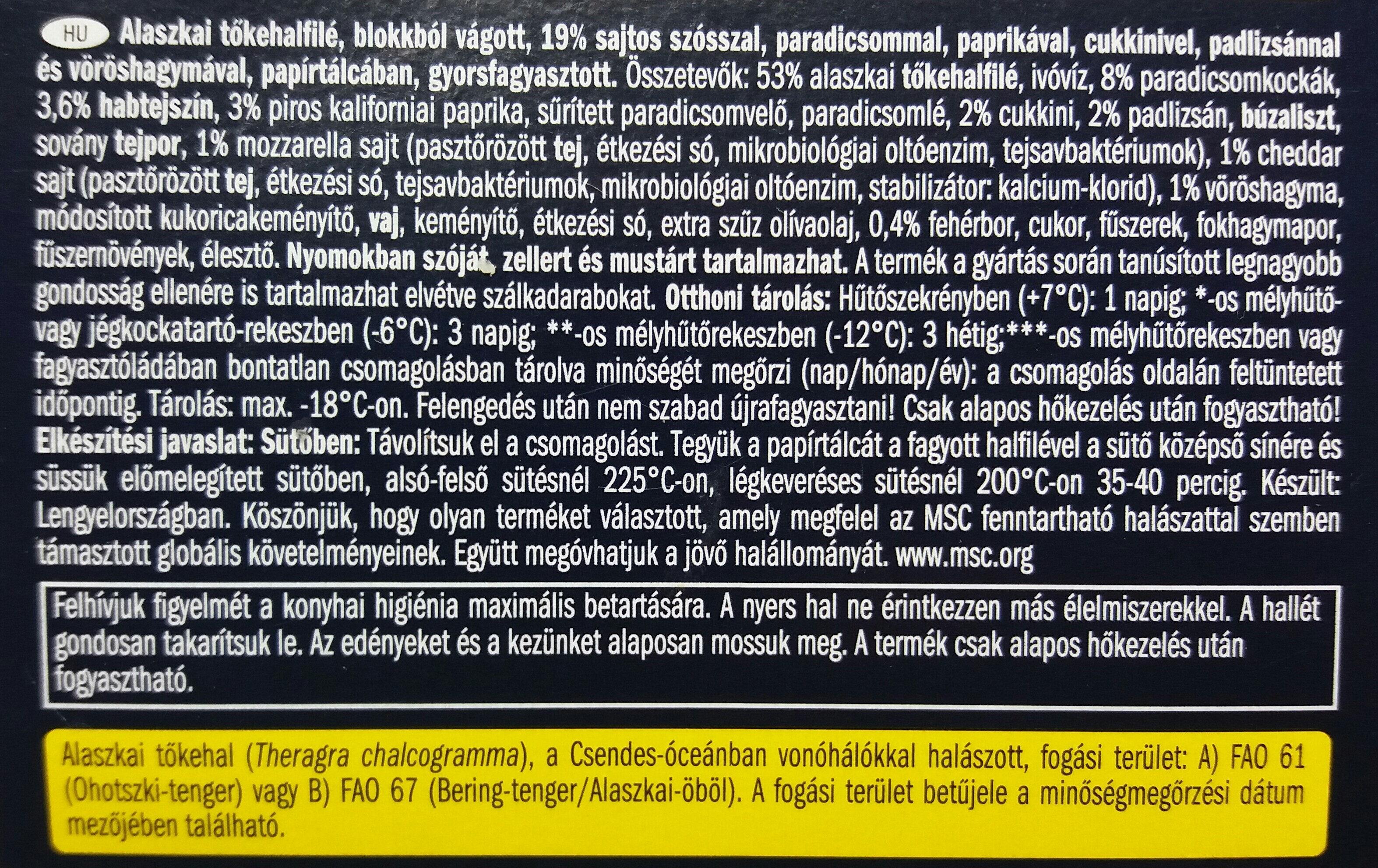 Alaszkai tőkehalfilé, zöldséges - sajtos - Ingredients - hu