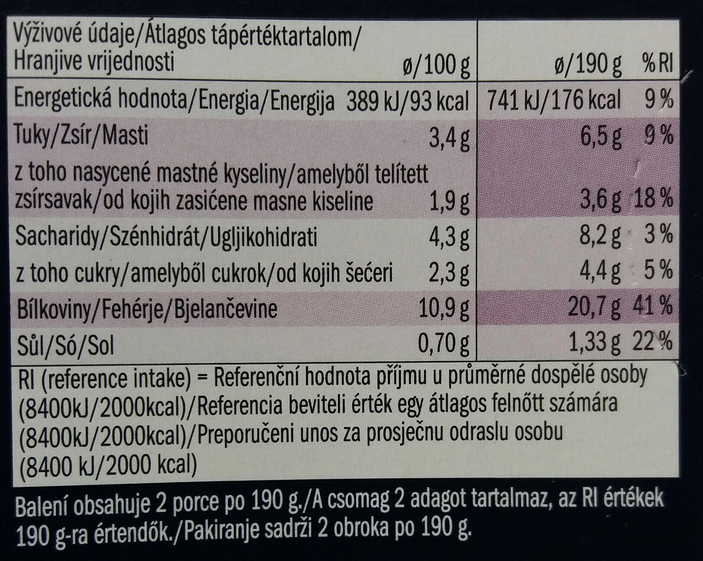Alaszkai tőkehalfilé, zöldséges - sajtos - Informations nutritionnelles - hu