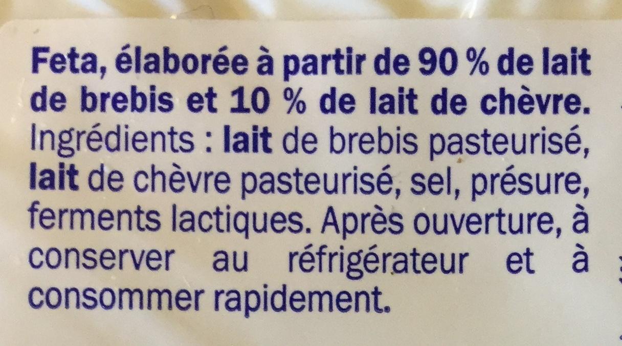 Feta DOP - Ingrediënten - fr