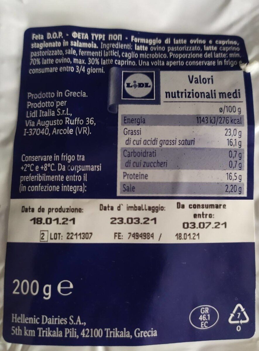 Feta DOP - Voedingswaarden - fr
