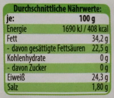 Alprahmkäse - Voedingswaarden - de