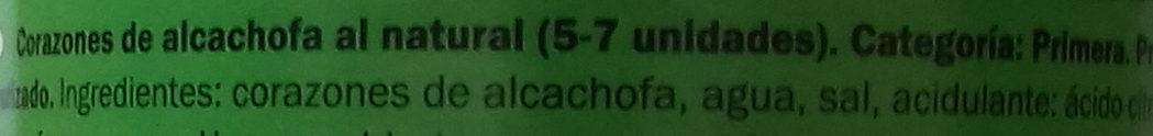 Alcachofa 5-7 corazones - Ingredientes - es