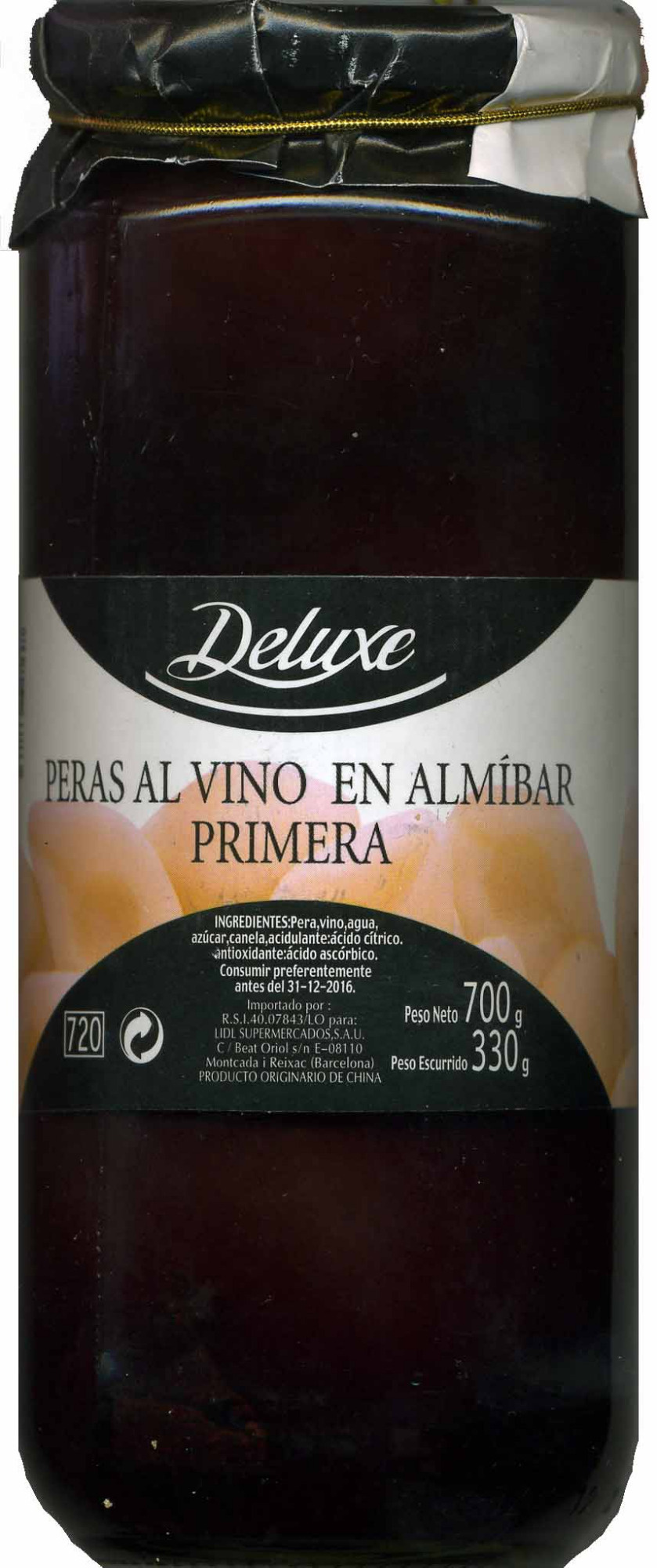 """Peras al vino en almíbar """"Deluxe"""" - Produit"""