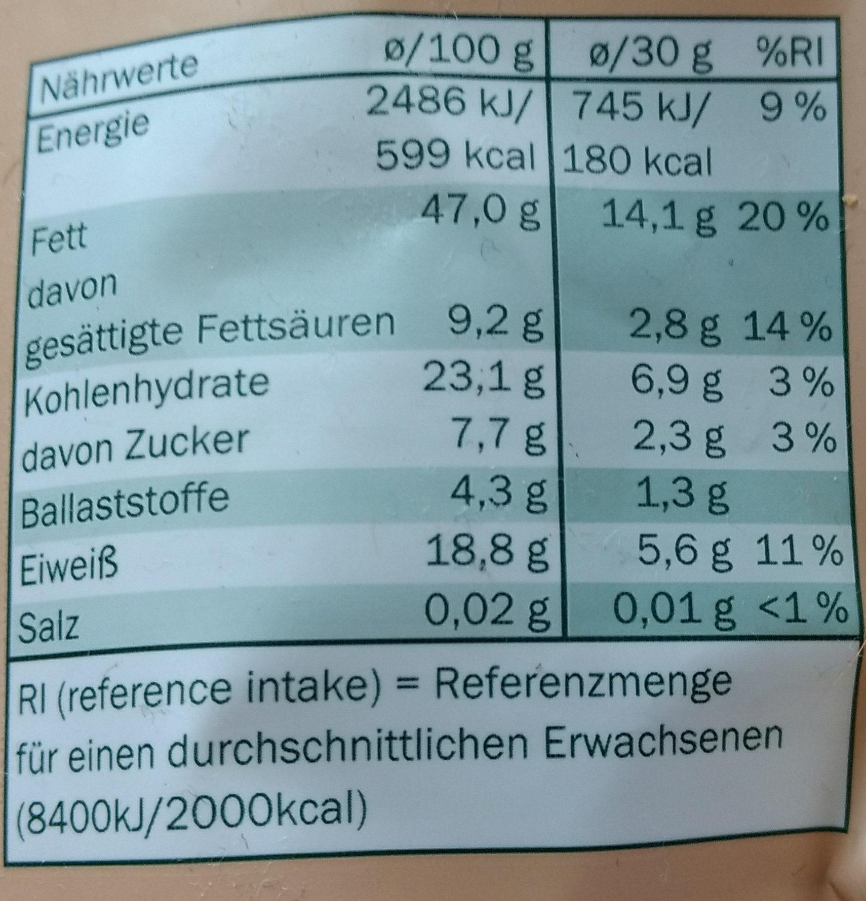 Cashewkern naturbelassen - Nutrition facts