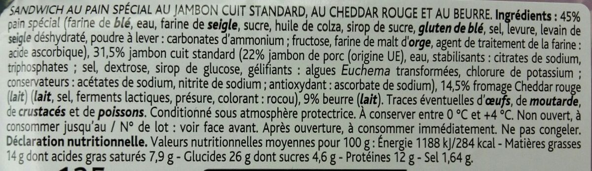 Jambon Cheddar - Ingredients