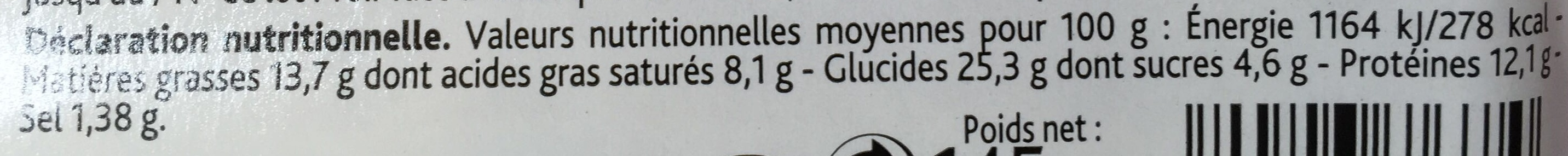 Jambon Cheddar - Nutrition facts
