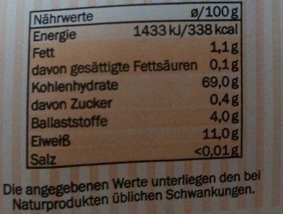 Farine Belbake Weizenmehl Type 405 2 KG - Informations nutritionnelles