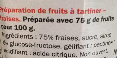 Confiture de fraises - 75 % de fruits - Ingrediënten