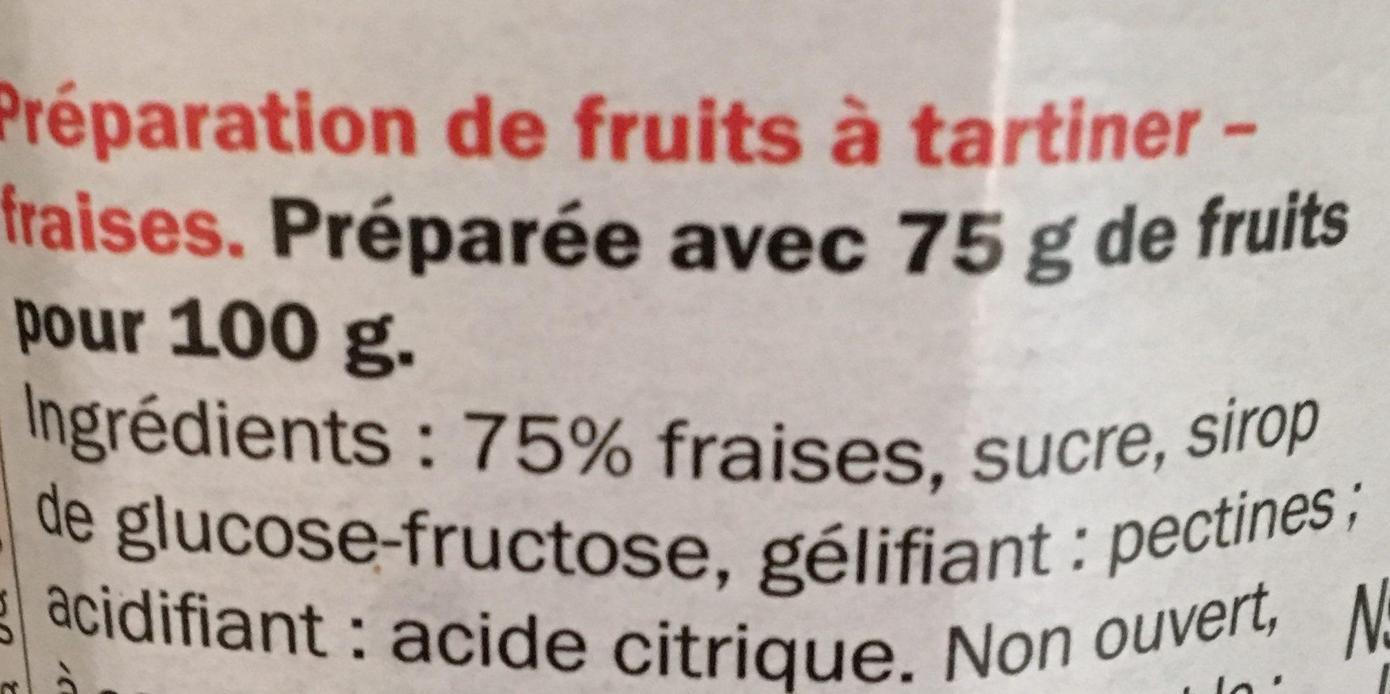 Confiture de fraises - 75 % de fruits - Ingredientes
