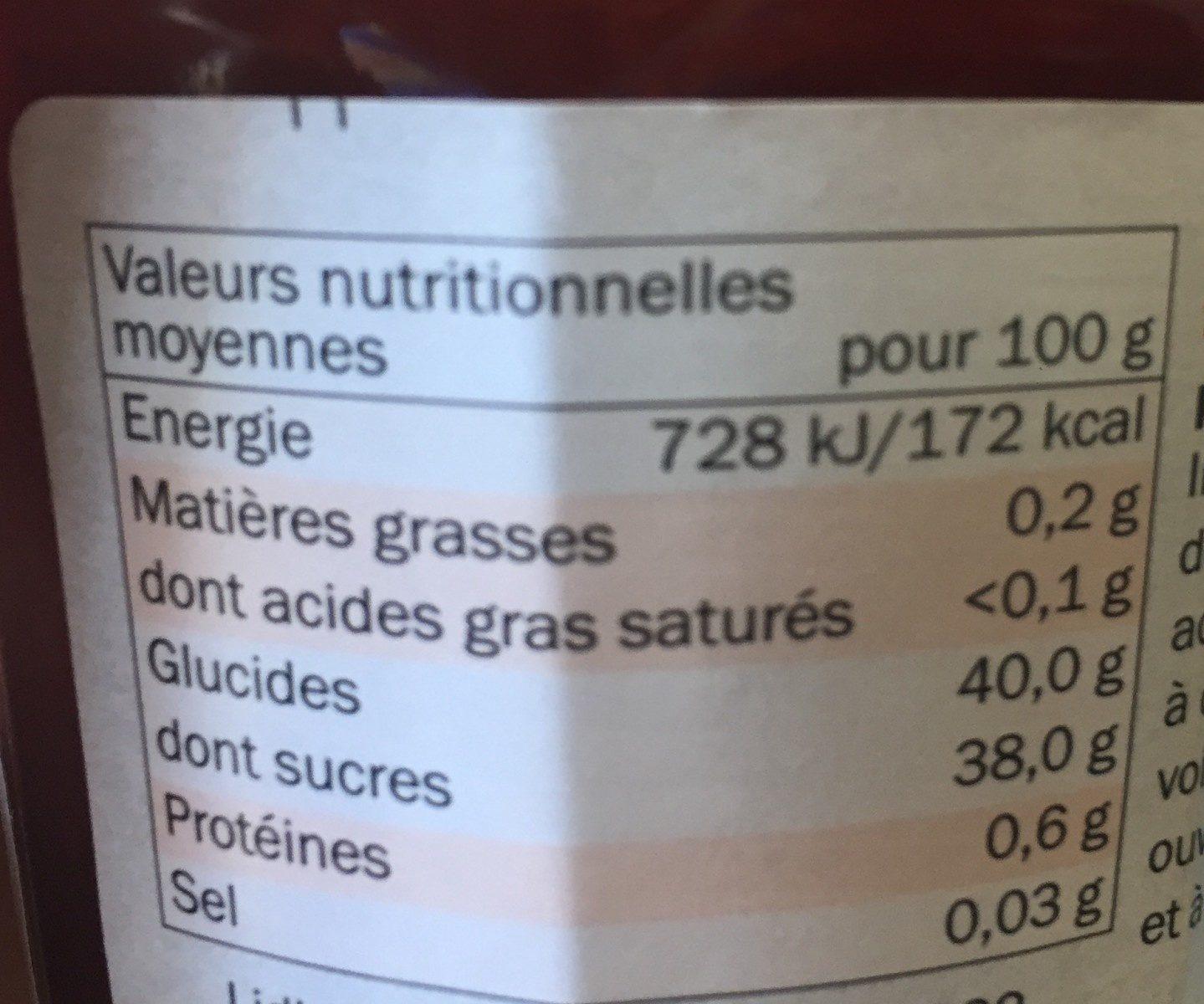 Confiture de fraises - 75 % de fruits - Información nutricional