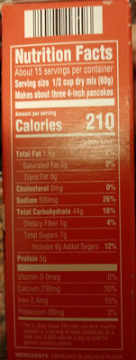 Original pancake and waffle mix - Nutrition facts - en