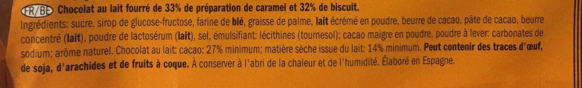 Baton z karmelem i ciastkiem w mlecznej czekoladzie - Ingrédients
