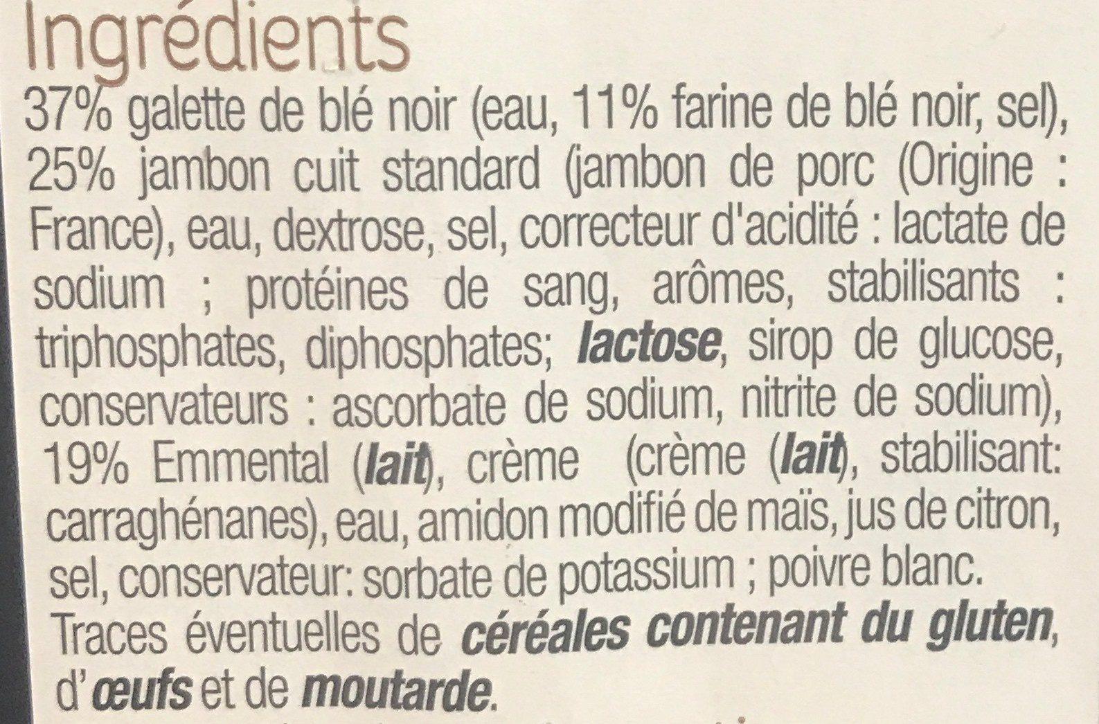 Galette de blé noir Jambon, emmental - Ingrediënten
